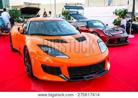 Dubai, Uae - November 15, 2018: British Sports Cars Lotus Evora 400 And Lotus Exige Take Part In The
