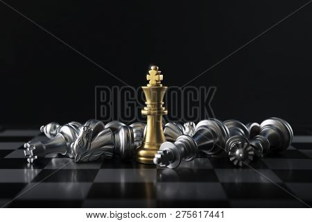 Chess (king Wins The Game) On Black Background. Success, Business Strategy, Victory, Win, Winner, In