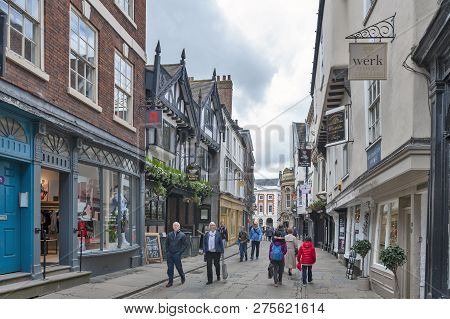 York, England - April 2018: Shopping Street On Stonegate Towards The Mansion House At St Helen Squar