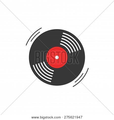 Vinyl Record Vector Icon, Gramophone Vinyl Record Symbol, Rotating Record Vinyl Disc, Flat Vinyl Lp,