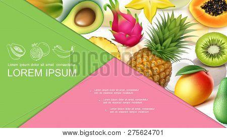 Realistic Exotic Fruits Colorful Composition With Pineapple Avocado Guava Kiwi Papaya Mango Carambol