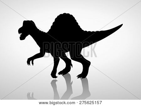 Silhouette Illustration Of A Spinosaurus, Vector Graphic