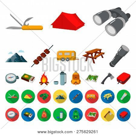 Rest In The Camping Cartoon, Flat Icons In Set Collection For Design. Camping And Equipment Vector S