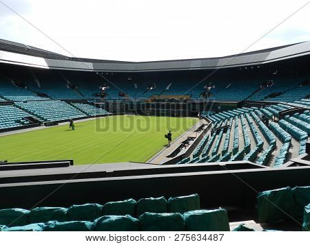 Wimbledon, United Kingdom. August 2016. Centre Court With Gardeners Working. All England Lawn Tennis