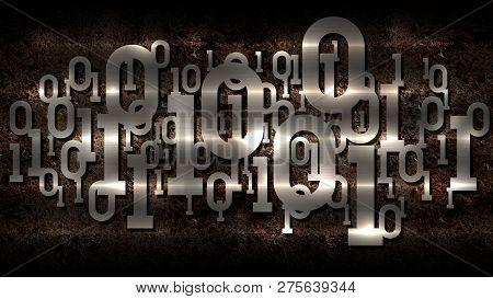 Metal Shiny Binary Code, Rusted Dark Background With Digital Binary Code, Big Data, Cloud Service, M