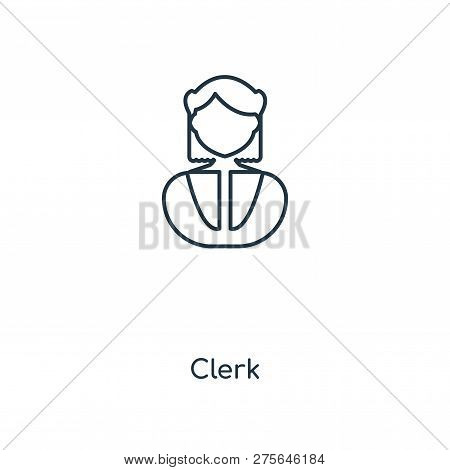 Clerk Icon In Trendy Design Style. Clerk Icon Isolated On White Background. Clerk Vector Icon Simple