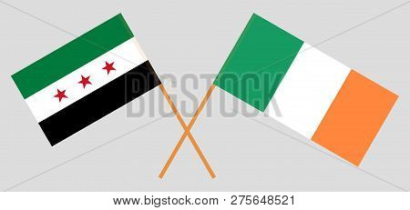 Syria Opposition And Ireland. The Syrian National Coalition And Irish Flags. Official Colors. Correc