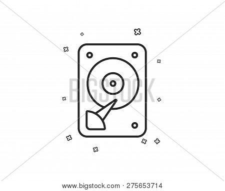 Hdd Icon. Hard Disk Storage Sign. Hard Drive Memory Symbol. Geometric Shapes. Random Cross Elements.