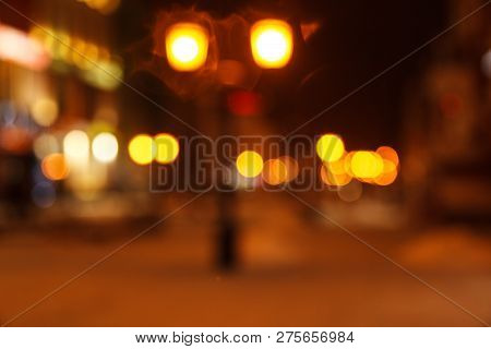 Blurred Background Of Colored Lights From Lanterns. Image Of Abstract Blurred Bokeh Background With