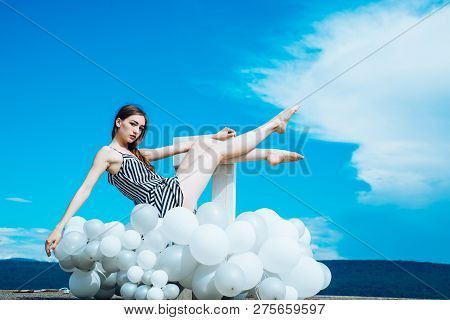 Woman In Summer Dress With Party Balloons. Fashion Portrait Of Woman. Inspiration And Imagination. G