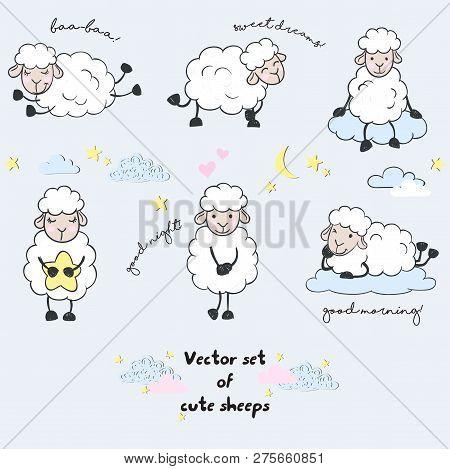 Vector Set Of Cute Cartoon Walking Sleeping Sheeeps With Clouds,stars, Heart, And Letterings Good Ni