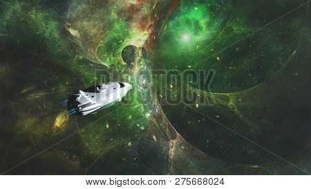 3d Illustration Of The Wormhole. A Wormhole In The Deep Space, Traveling In Space Concept. Wormhole