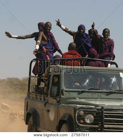 A Tuuck full of Maasaii Warriors, Kenya