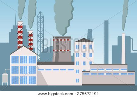 Industry Factory Vector Industrial Chimney Pollution With Smoke, Industrial City Landscape With Plan