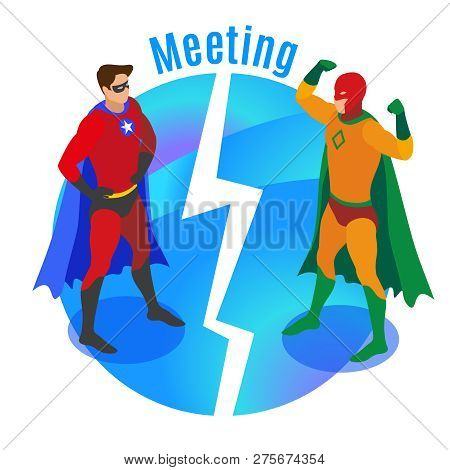 Super Heroes In Confident Poses During Meeting Of Competitors On Round Blue Background Isometric Vec
