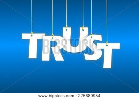 Trust word hanging on string