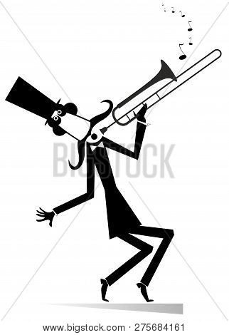 Cartoon Long Mustache Trumpeter Is Playing Music Illustration Isolated. Mustache Man In The Top Hat