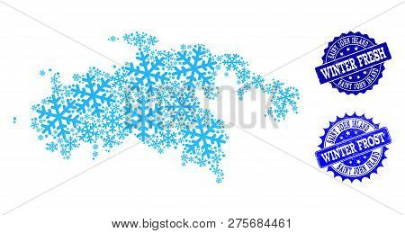 Icy Map Of Saint John Island And Scratched Stamp Seals In Blue Colors With Winter Fresh And Winter F