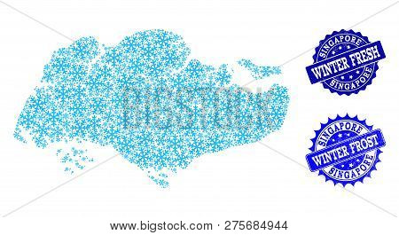Icy Map Of Singapore And Rubber Stamp Seals In Blue Colors With Winter Fresh And Winter Frost Texts.