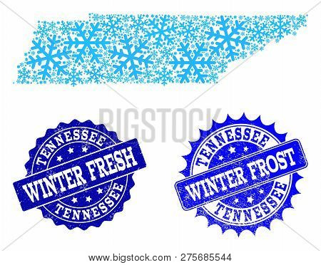 Icy Map Of Tennessee State And Rubber Stamp Seals In Blue Colors With Winter Fresh And Winter Frost
