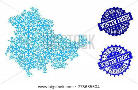 Icy Map Of Thuringia State And Rubber Stamp Seals In Blue Colors With Winter Fresh And Winter Frost