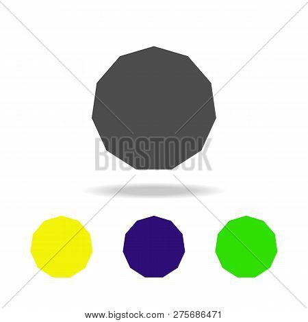 Eleventh Colored Icons. Elements Of Geometric Figure Colored Icons. Can Be Used For Web, Logo, Mobil