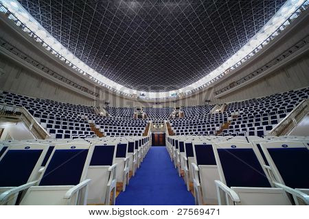 MOSCOW - FEBRUARY 26: Empty chairs in Tchaikovsky Concert Hall, on February 26, 2011 in Moscow, Russia.  Each year, over three hundred concerts are held on stage of Tchaikovsky Concert Hall.