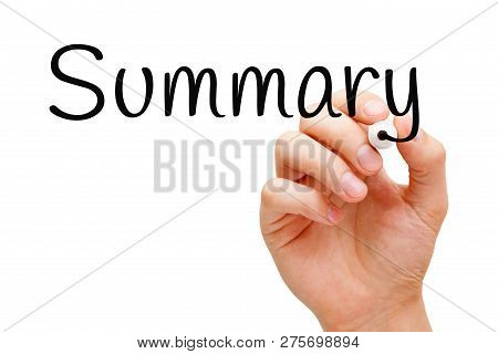 Hand Writing The Word Summary With Black Marker On Transparent Wipe Board Isolated On White.