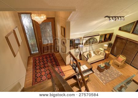 Split level house and front door interior