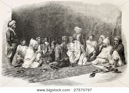 Aissawa old illustration: religious and mystical brotherhood founded in Meknes, Morocco. Created by Janet-Lange, published on L'Illustration, Journal Universel, Paris, 1858