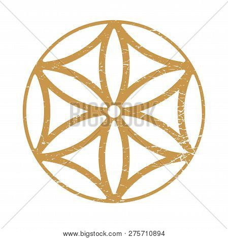 Six Petal Rosette Also Known As Sun Of The Alps Or Sacred Geometry Seed Of Life Symbol. Ancient Sun