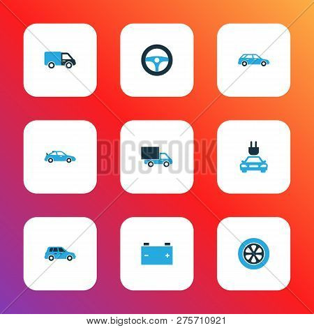Car Icons Colored Set With Crossover, Plug, Car And Other Crossover Elements. Isolated Vector Illust