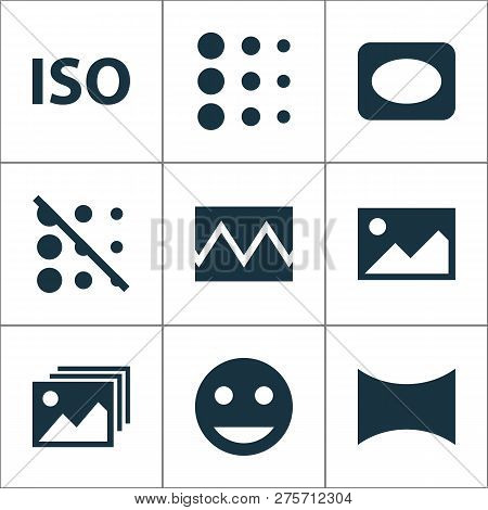 Image Icons Set With Image, Iso, Broken Image And Other Image Elements. Isolated  Illustration Image