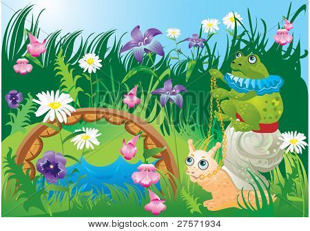 Frog riding snail - fairy tale illustration poster