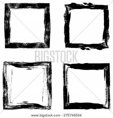 Set A Picture Frame Drawn With A Stiff Brush, Vector Abstract Makeovers Photo Frame Hand Drawn