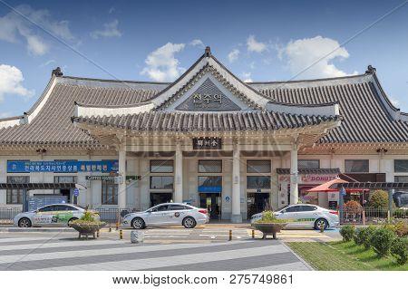Jeonju, South Korea - September 2018: Facade Of Jeonju Railway Station Built In Traditional Korean A