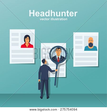 Headhunter Concept. Human Resources Concept. Businessman Employer Search Resume Staff Selects Candid