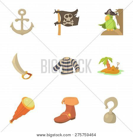 Buccaneer Icons Set. Cartoon Set Of 9 Buccaneer Icons For Web Isolated On White Background