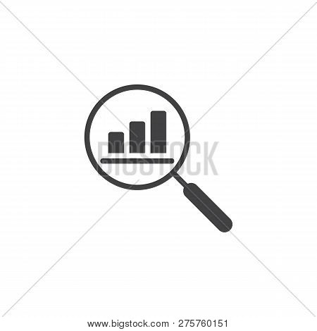 Finance Monitoring Vector Icon. Filled Flat Sign For Mobile Concept And Web Design. Chart And Magnif