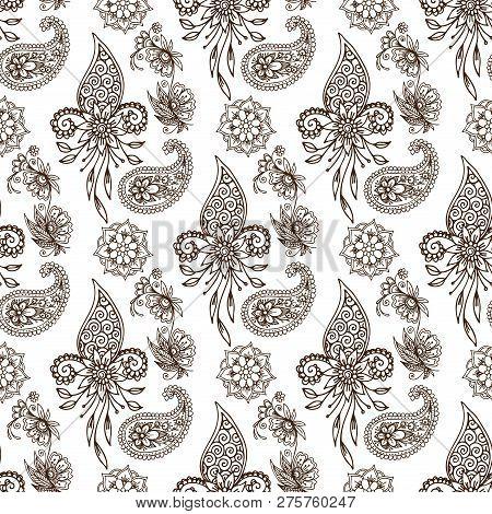 Henna Tattoo Mehndi Flower Doodle Ornamental Decorative Indian Design Pattern Paisley Arabesque Mhen