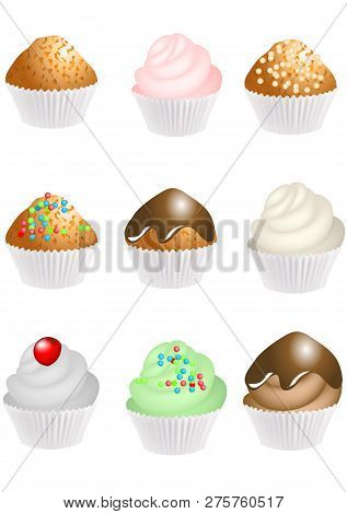 Set Of Cupcakes With Cream Isolated On Whiite