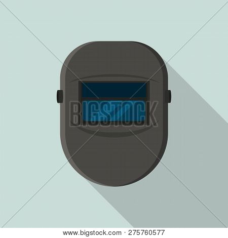 Welder Black Protect Mask Icon. Flat Illustration Of Welder Black Protect Mask Icon For Web Design