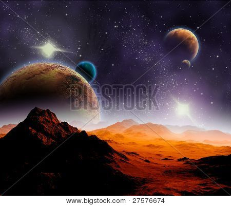 Abstract Background Of Deep Space. In The Far Future Travel. New Technologies And Resources.
