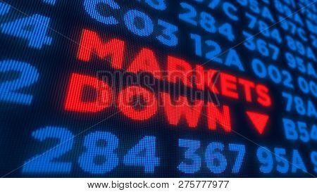 Markets Down And Stock Crisis Concept. Economy Crash And Recession 3d Illustration. Screen Pixel Sty