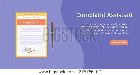 Complaint Form Assistant On Clipboard Web Template Concept Online Customer Complaint Service Landing