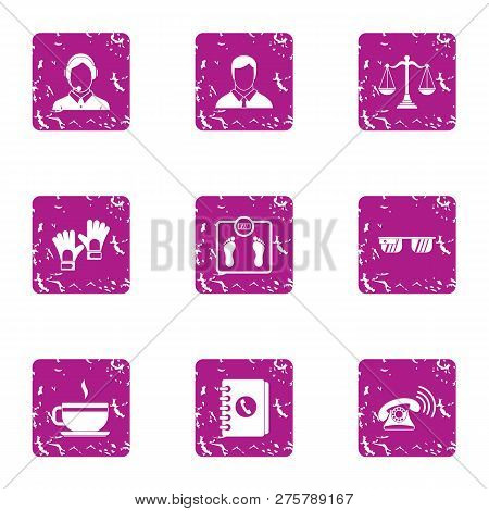 Coworking Icons Set. Grunge Set Of 9 Coworking Icons For Web Isolated On White Background