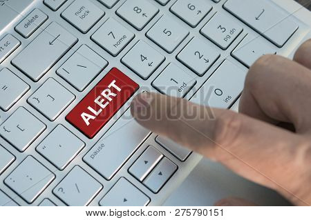 Alert Word On Red Keyboard Button. Anxiety, Worry, Uneasiness, Unease Disquiet Disquietude