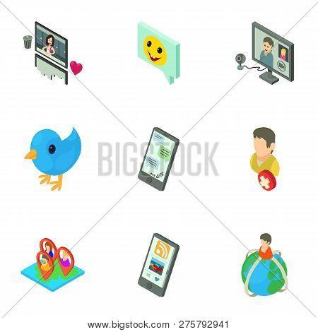 Global Communication Icons Set. Isometric Set Of 9 Global Communication Icons For Web Isolated On Wh