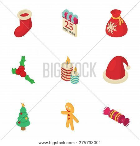 Christmas Fellowship Icons Set. Isometric Set Of 9 Christmas Fellowship Icons For Web Isolated On Wh