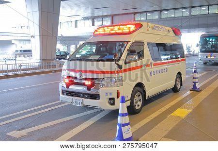 Tokyo Japan - December 10, 2018: Ambulance Paramedic Car In Tokyo Japan.